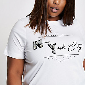 "Plus – Weißes T-Shirt ""New York"""