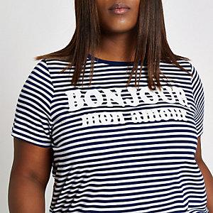 Plus navy stripe 'bonjour' T-shirt