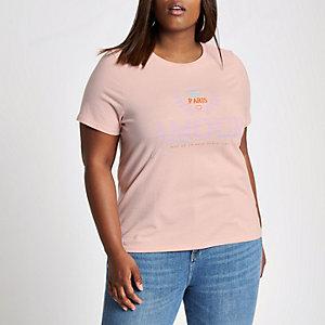 Plus pink 'amour' print T-shirt