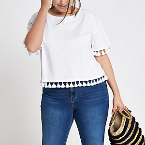 Plus white pom pom trim T-shirt