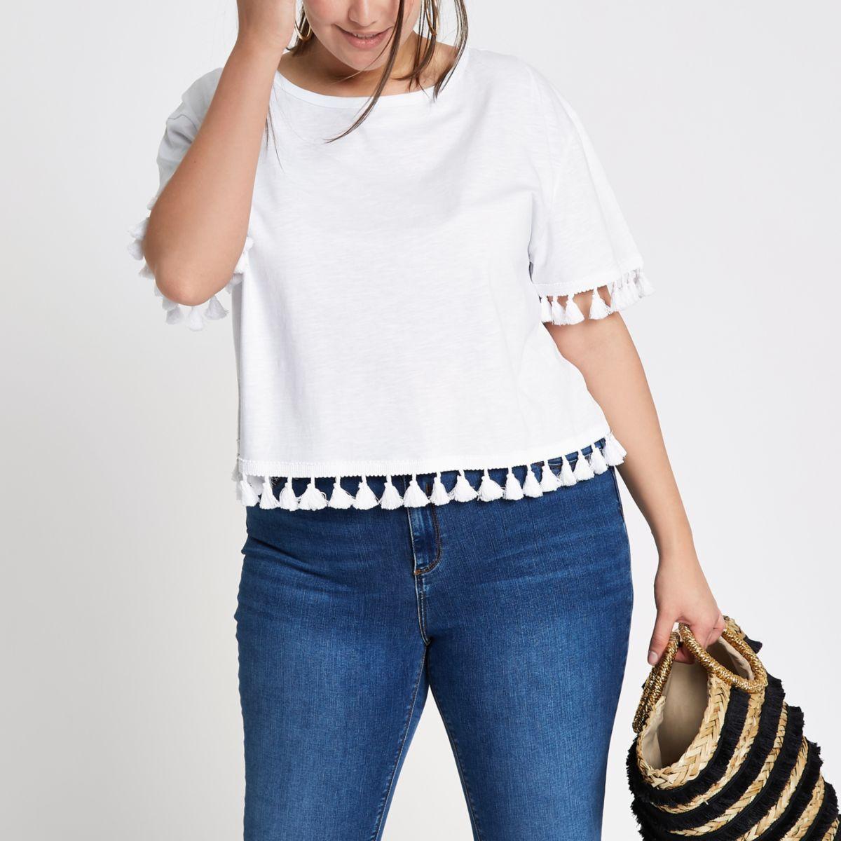 Plus white pom pom trim T-shirt