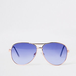Gold tone blue lens aviator style sunglasses