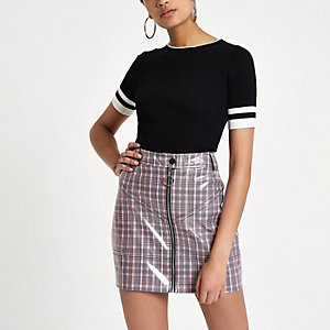 Pink vinyl check mini skirt