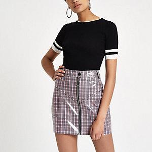 Pink vinyl check mini skirt