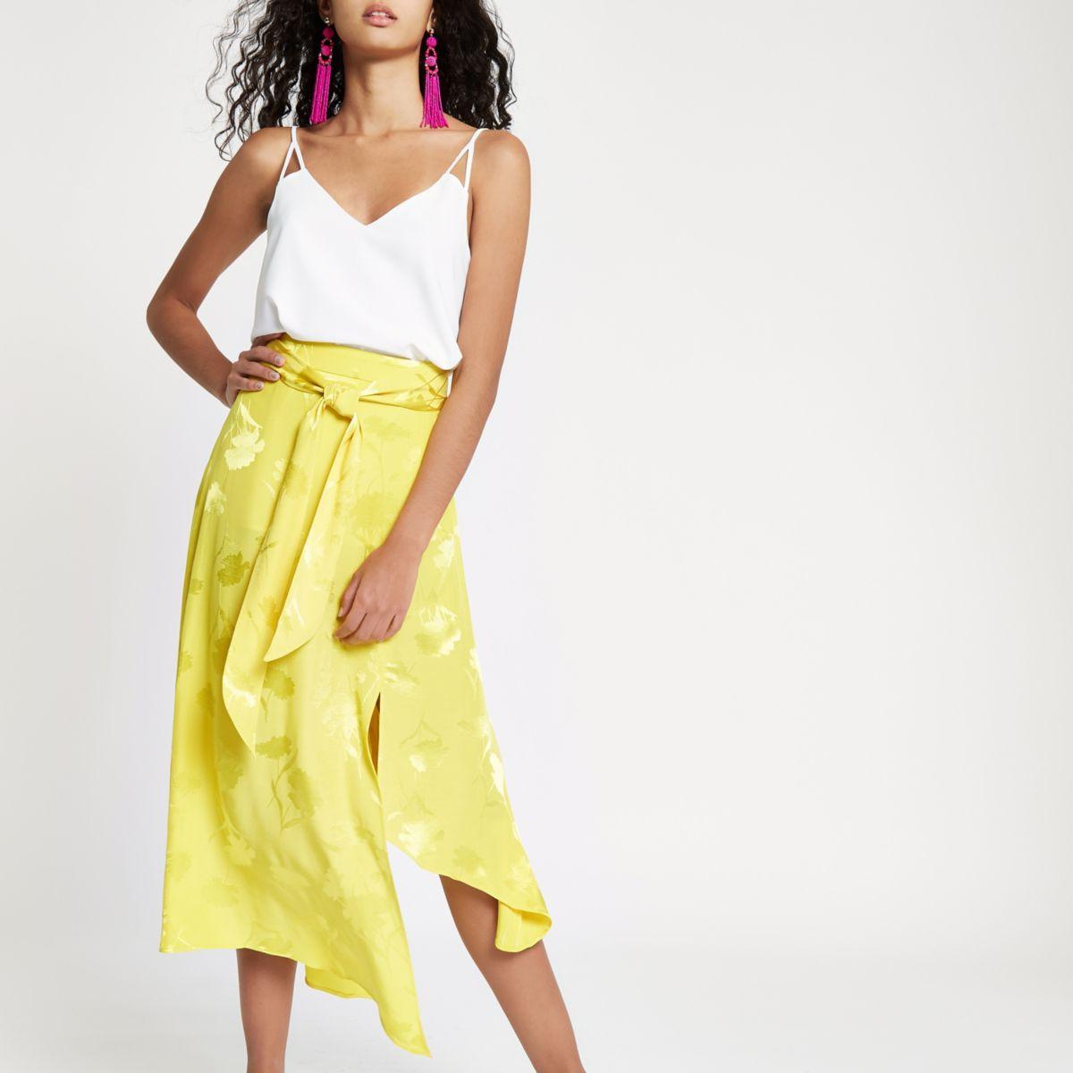 Yellow jacquard tie waist asymmetric skirt