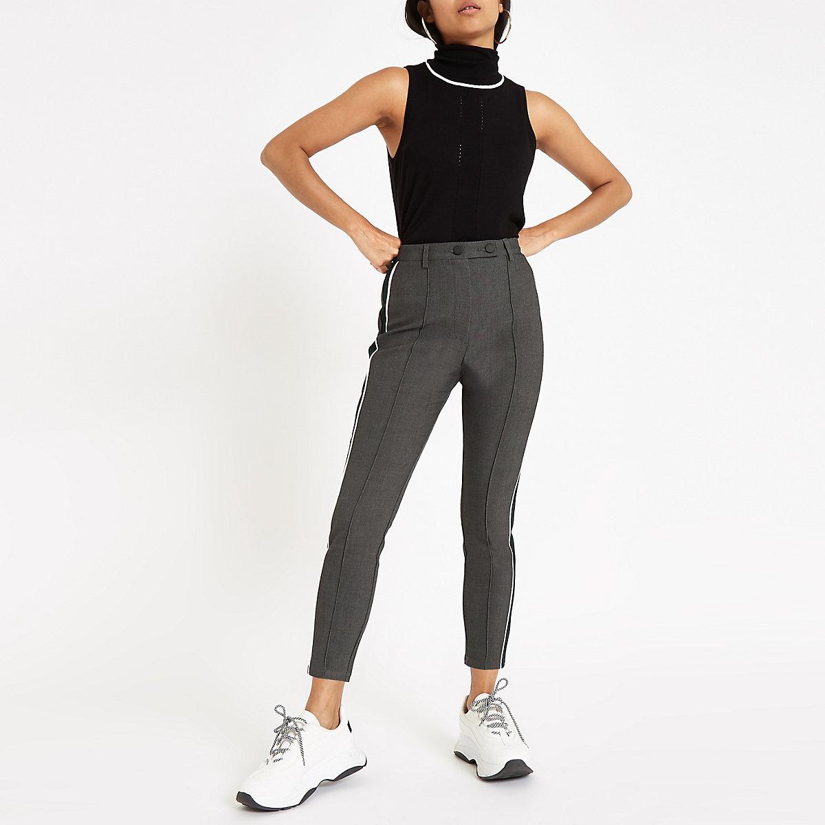 Petite grey ponte tape side skinny trousers