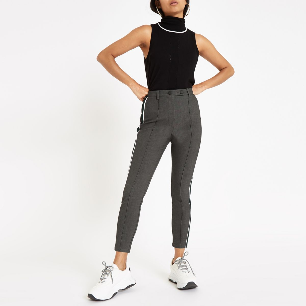 Petite grey ponte tape side skinny pants