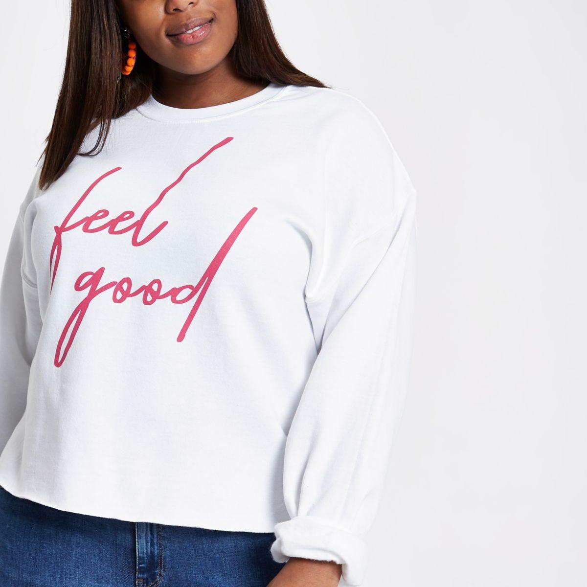 Plus white 'Feel good' print jumper