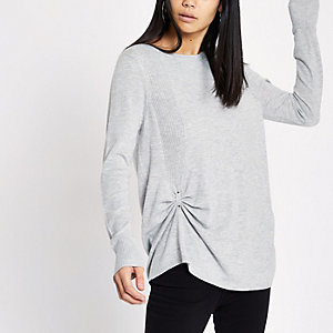 Grey tuck front knitted top