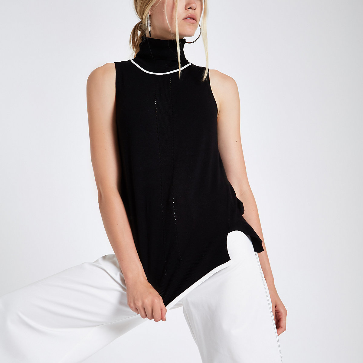 Black knit roll neck sleeveless sweater
