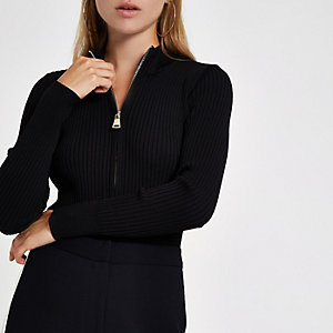 Black knit rib zip through top