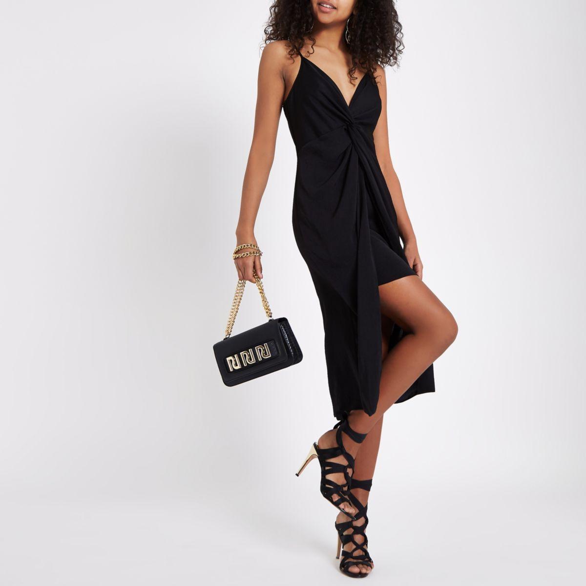 Black print twist front knot dress