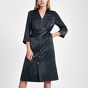 Navy twist front midi shirt dress