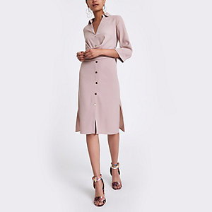 Pink twist front midi shirt dress
