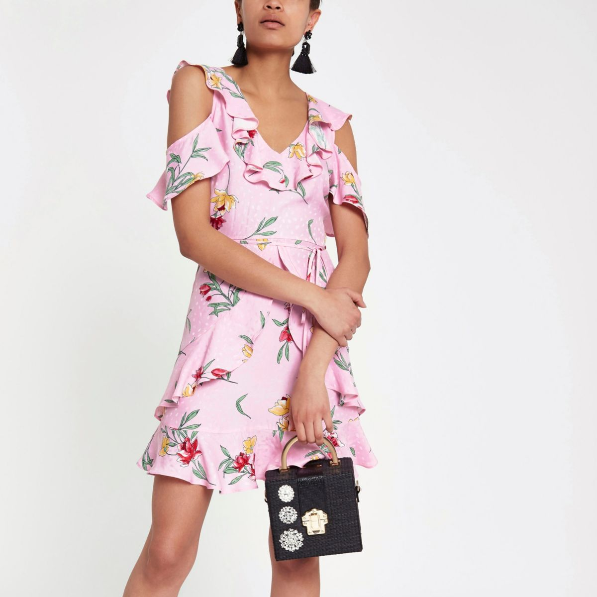 Pink floral print cold shoulder frill dress