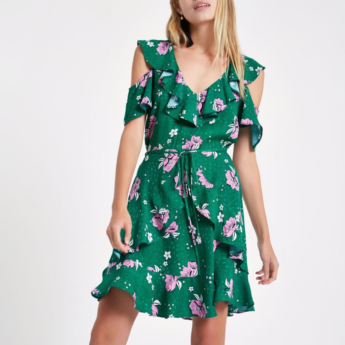 Green floral cold shoulder mini dress