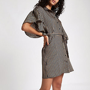 Brown stripe cold shoulder frill shirt dress