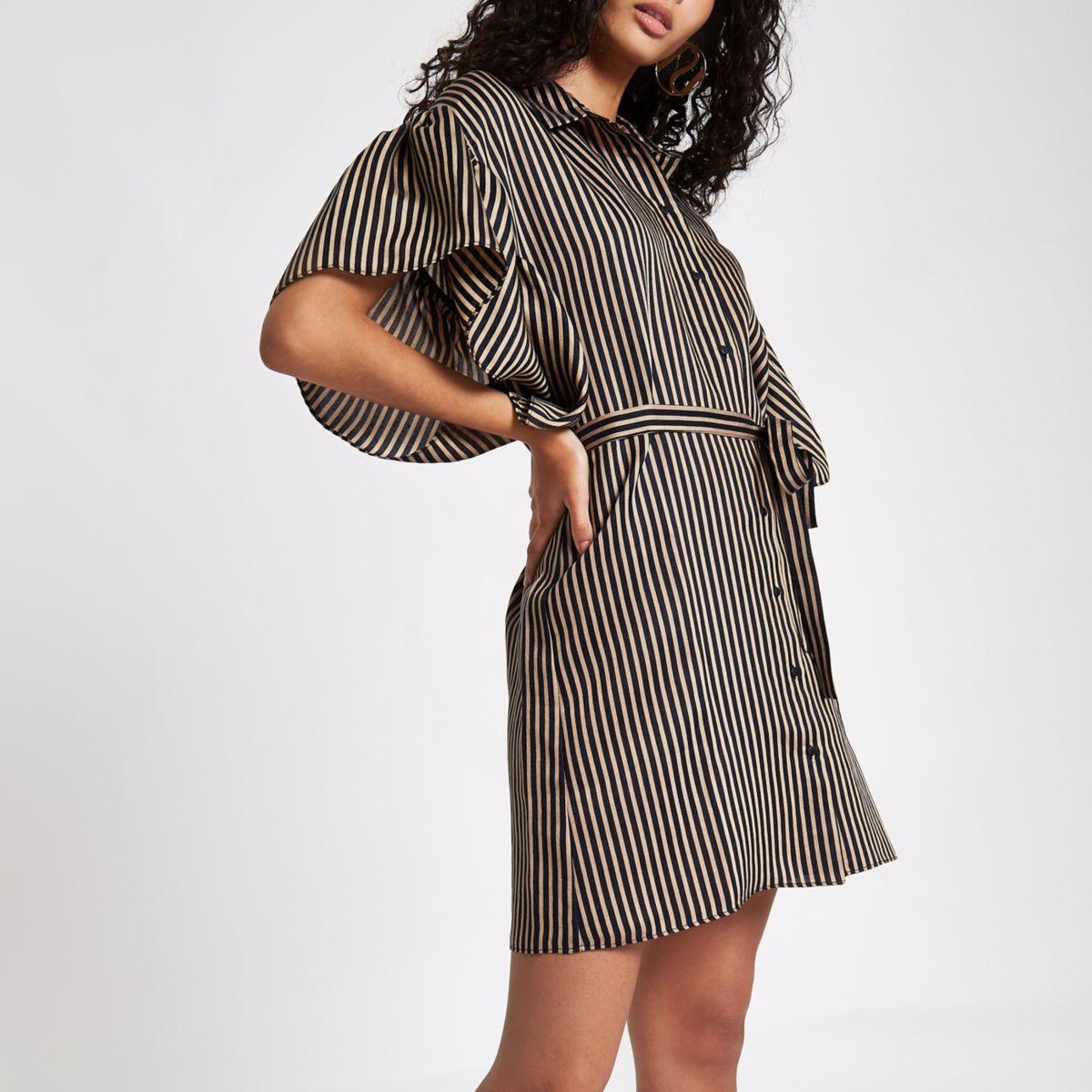 Brown stripe cold shoulder frill shirt dress