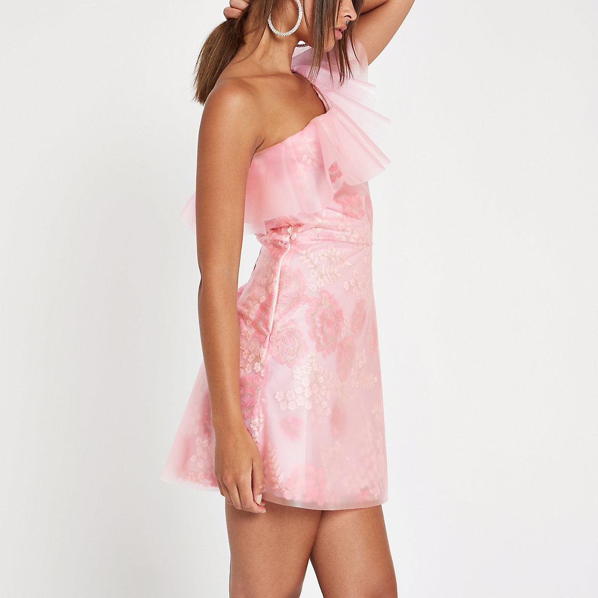 Pink plastic one shoulder layered mini dress