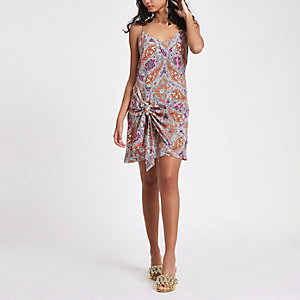 Orange paisley tie front cami slip dress