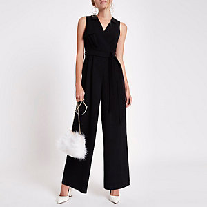 Black wrap tie front wide leg jumpsuit