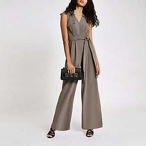 Grey wrap tie front wide leg jumpsuit