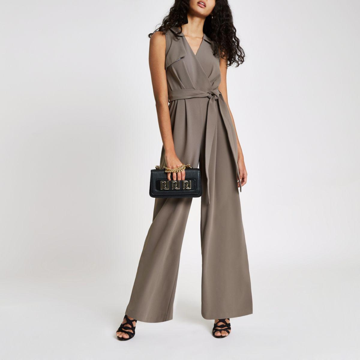 Grey wrap tie front wide leg jumpsuit
