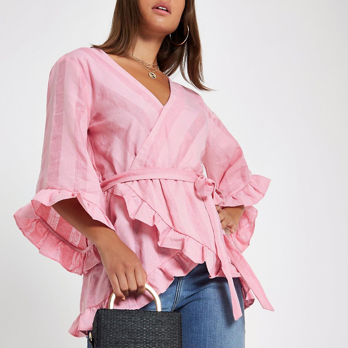 Pink stripe wrap tie waist frill blouse