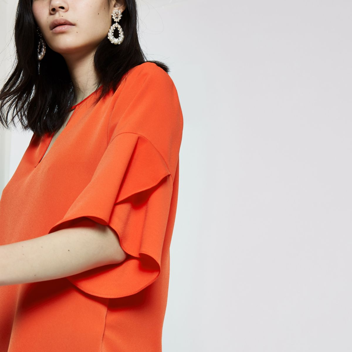 Red short sleeve frill sleeve top