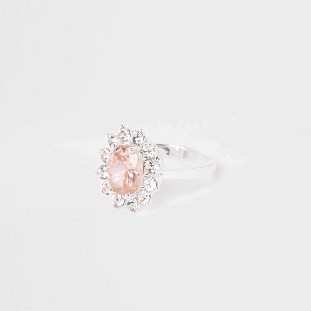 White cubic zirconia diamante pave ring