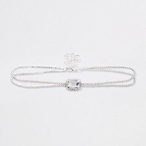 Silver tone centre stone diamante choker