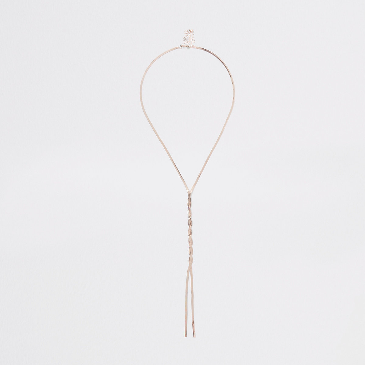 Rose gold twist snake chain necklace