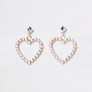 Gold faux pearl heart stud earrings