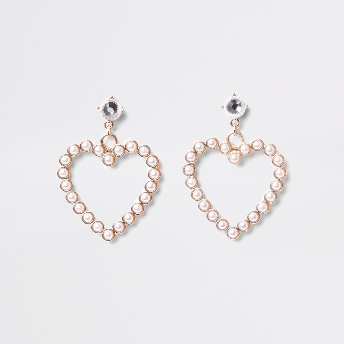 Gold faux pearl heart stud earrings