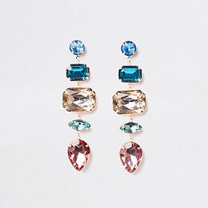 Gold tone jewel drop earring