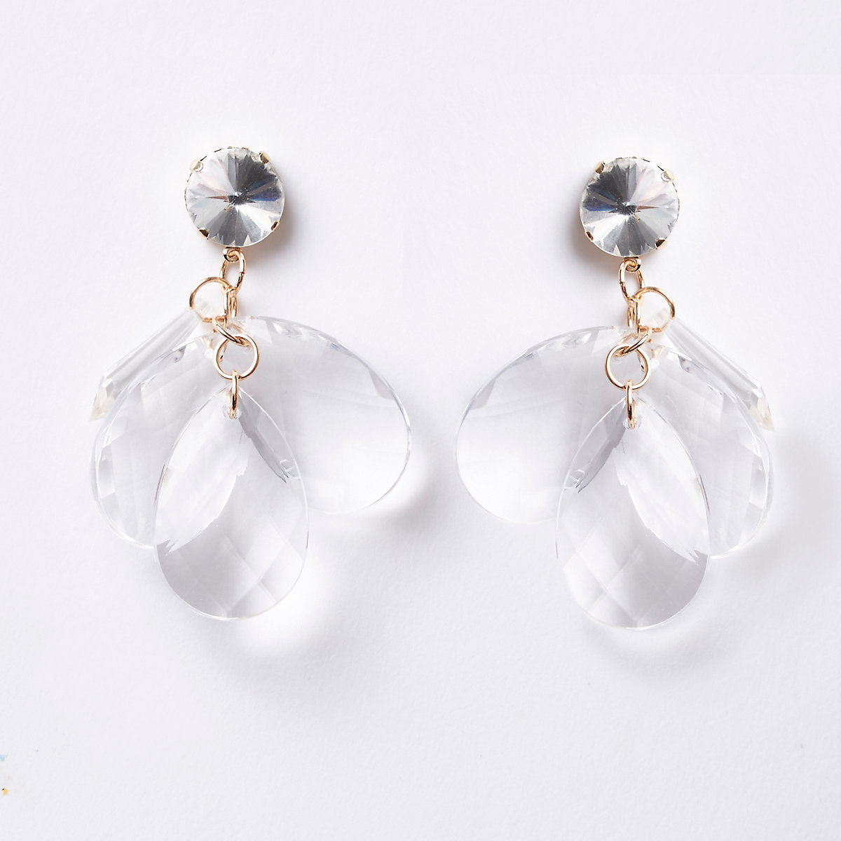 Gold tone layered jewel drop earrings