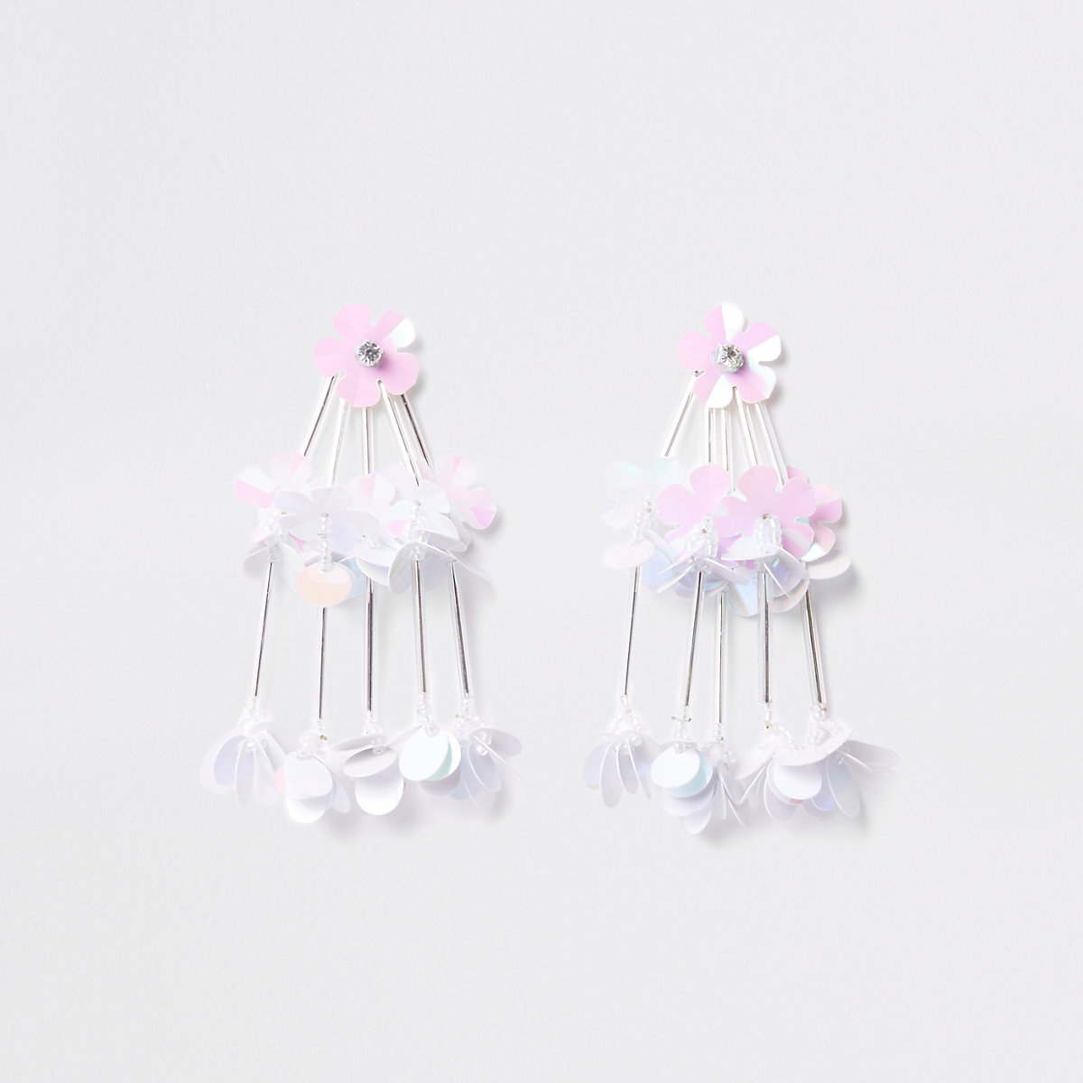 White tiered sequin flower drop stud earrings