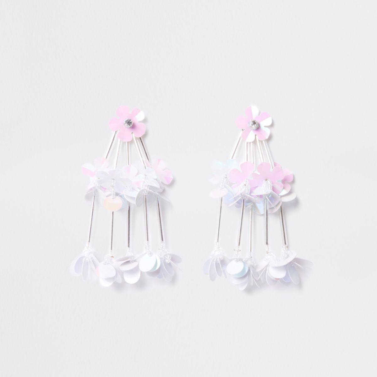 White tiered sequin flower drop stud earrings