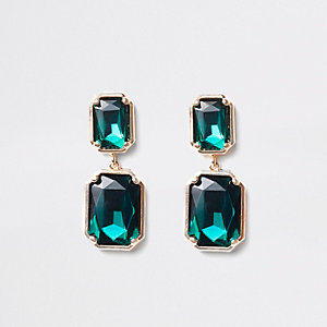 Green emerald rectangle stud earrings