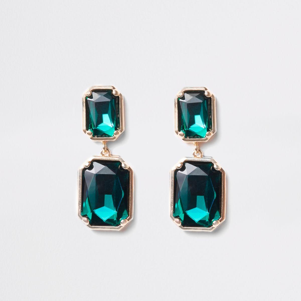 Green emerald rectangle stud earrings