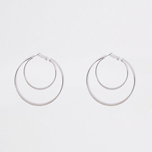 Silver tone double hoop earrings