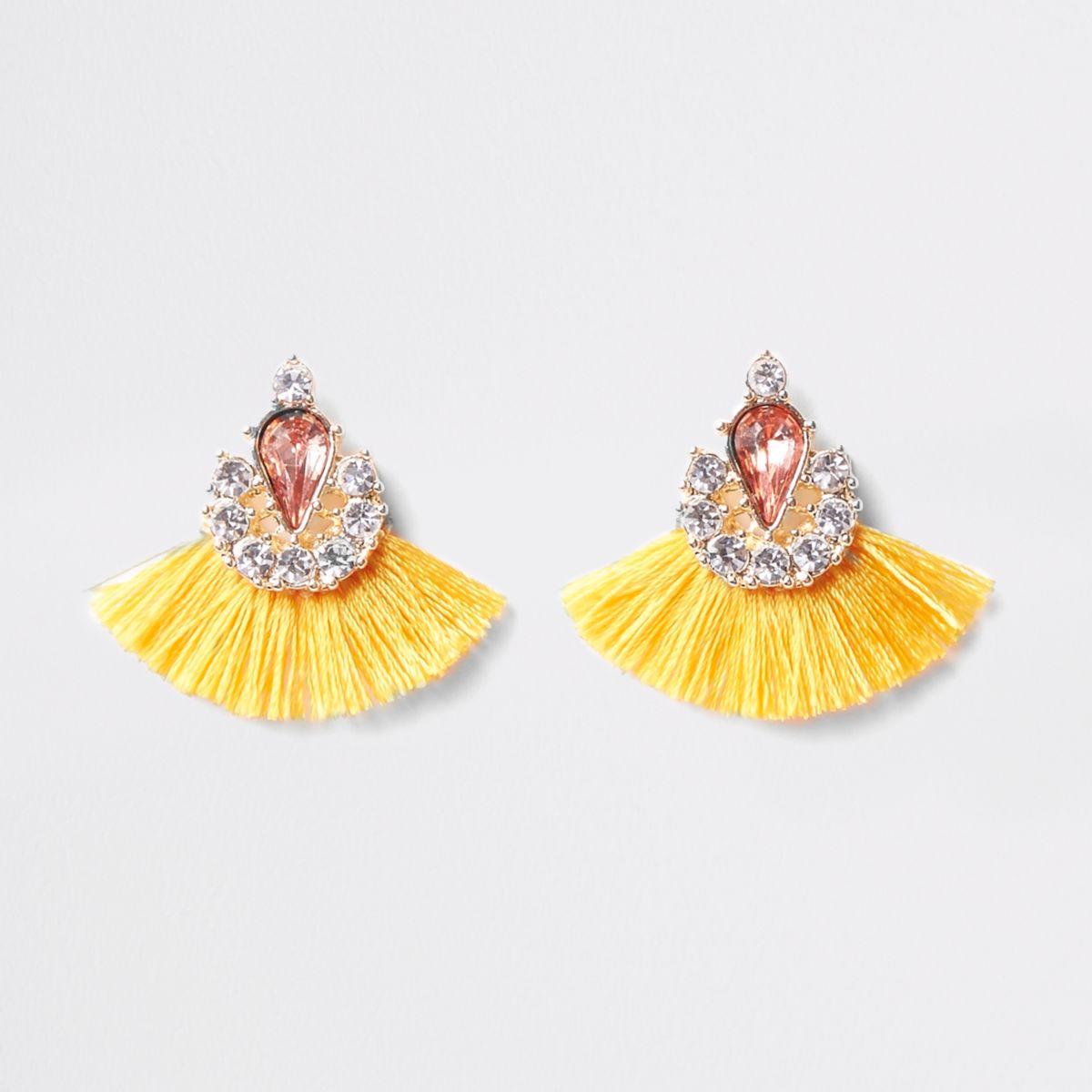 Yellow tassel fan jewel stud earrings