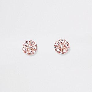 Roségoudkleurige oorbellen met clip, bloem en diamantjes