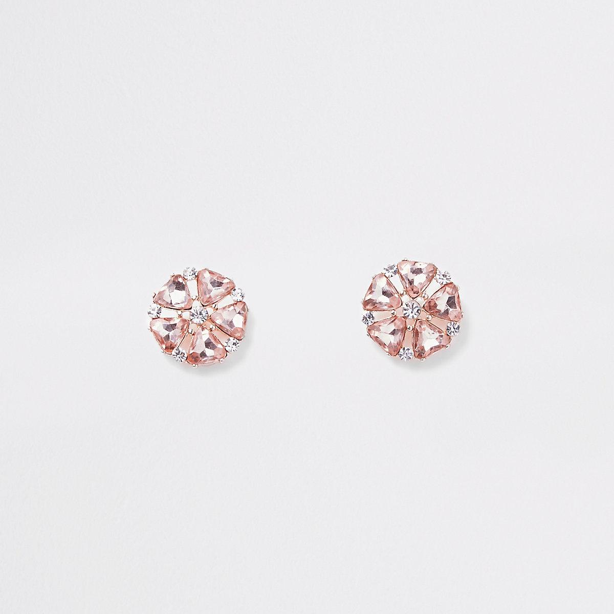 Rose gold diamante flower clip on earrings