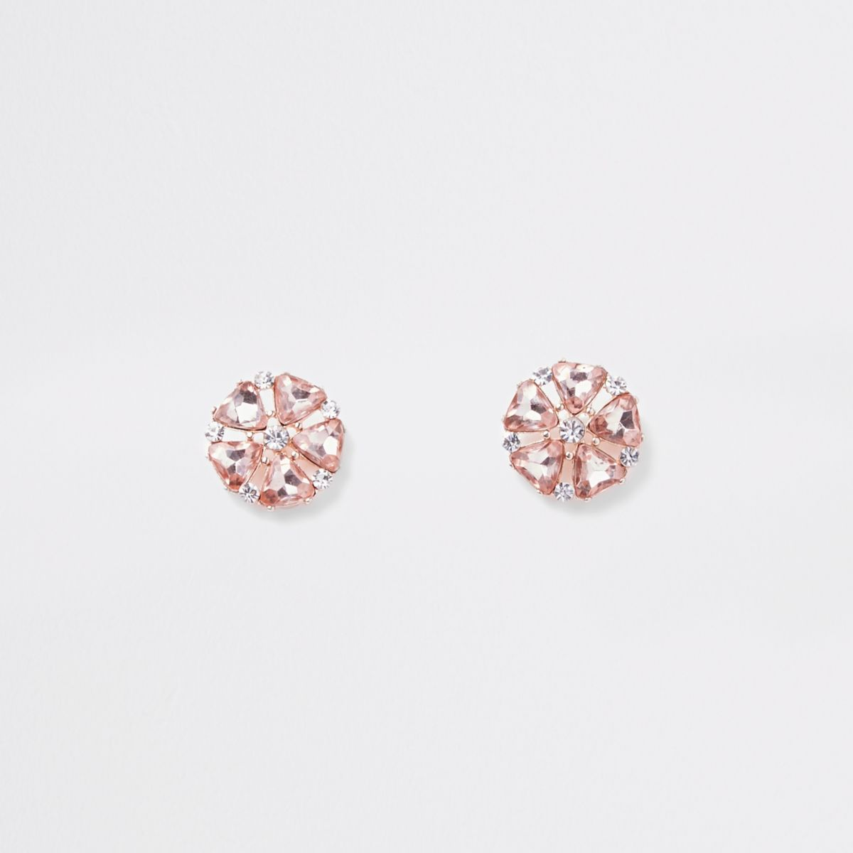 Rose gold rhinestone flower clip on earrings