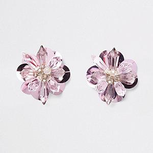Clous d'oreilles à fleurs en 3D roses avec perles et sequins