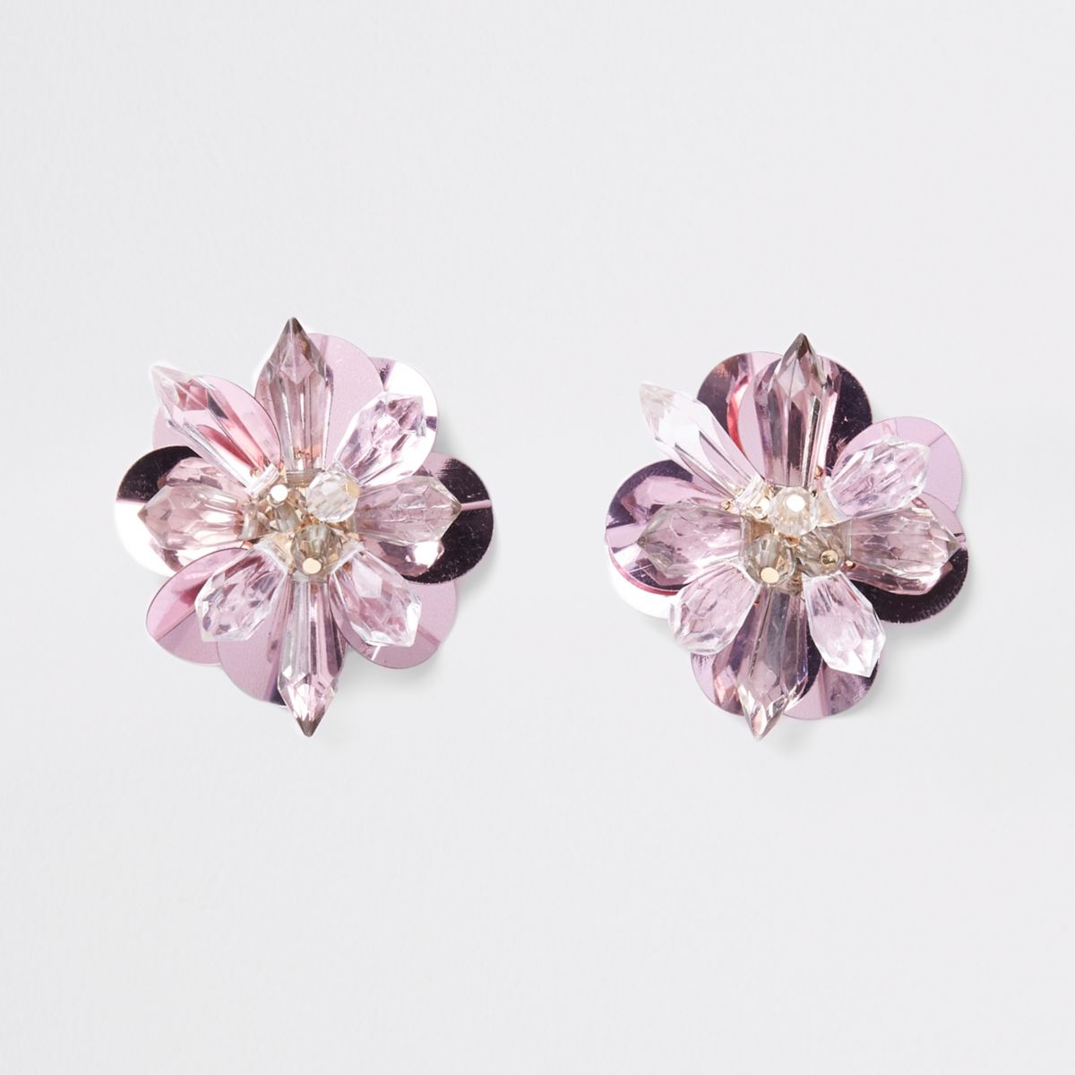 Pink bead and sequin 3D flower stud earrings
