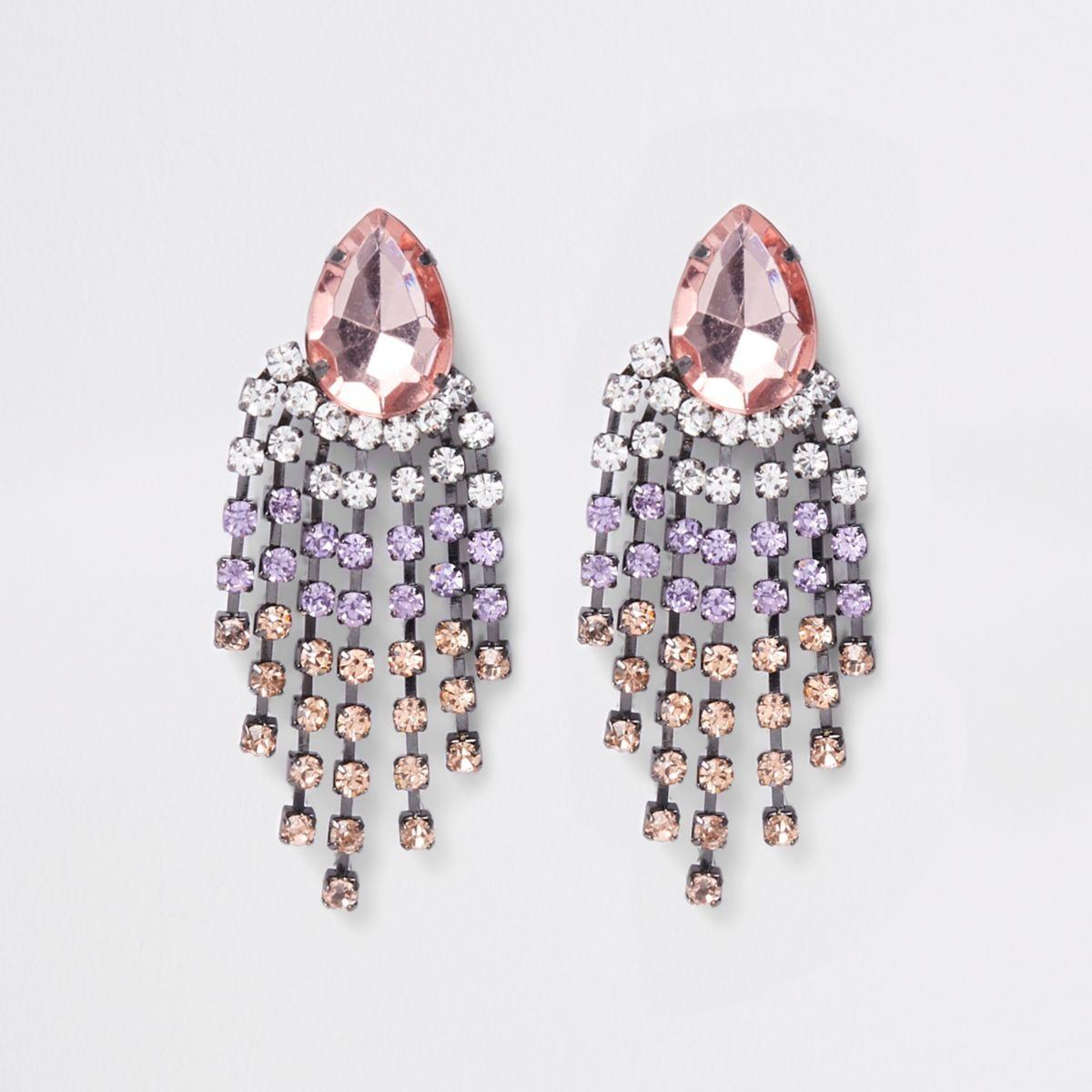 Pink silver tone jewel drop stud earrings