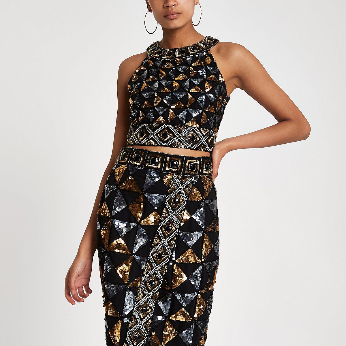 Black geo sequin embellished crop top