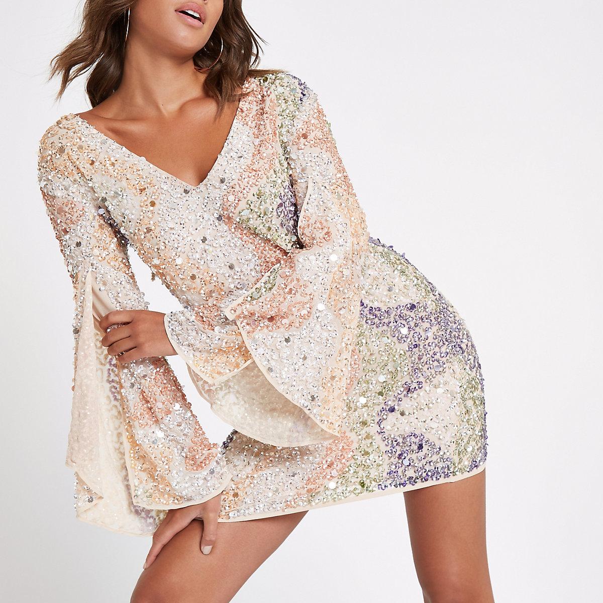 Beige sequin embellished mini dress